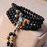 6mm Stone  Black Obsidian Buddha Head Beads Mala Prayer Bracelet Necklace +Pouch