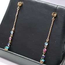 "Amethyst Aquamarine Rose Quartz Dangle Drop Earrings 14K Rose Gold Plated 1.75"""