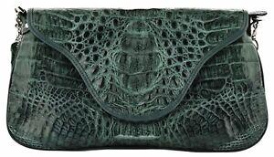 Genuine Crocodile Baguette Bag Hornback Skin Short Shoulder Strap Green Cognac