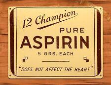 "TIN-UPS TIN SIGN ""Pure Aspirin"" Ad Medicine Poster Vintage Wall Decor"