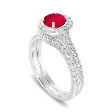 Red Ruby Engagement Ring Sets 1.83 Carat 14K White Gold Certified Halo Pave