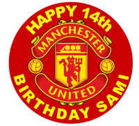 MANCHESTER  BIRTHDAY EDIBLE CAKE & CUPCAKE TOPPER/DECORATION WAFER PAPER/ICING