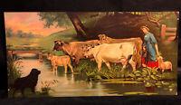 Antique Chromolithograph Victorian Farm Girl Crossing River Cattle Cows Print