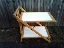 Vintage Wood & Laminate Folding Bar Cart/Server with Wheels & Two Shelves