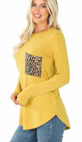 Women's Plus Mustard Round Neck Long Sleeve W/ Pocket Perfect Fit Tee Shirt Top