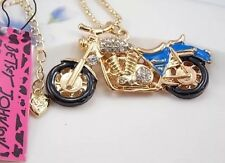 Betsey Johnson Necklace Blue Sexy Motorcycle GOLD CRYSTALS Biker Girl