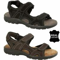 Mens Leather Summer Sandals Memory Foam Walking Trekking Trail Sandals Shoes Siz