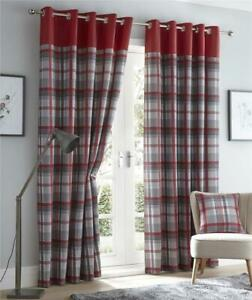 Red curtains eyelet ring top lined curtains tartan check ready made