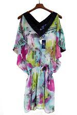 NEW NWT AQUA DI MARE® Floral Caftan Beach Dress Multi-colored L/XL Copricostume
