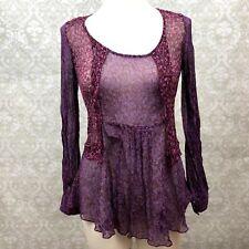 Cabi XS Womens Purple Floral Sheer Ruffle Long Sleeve Blouse