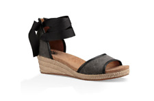 UGG  AUSTRALIA AMELL WEDGE SANDALS BLACK SIZE 6 NEW IN BOX