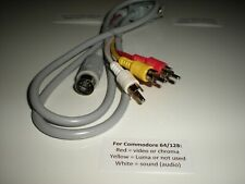 Commodore 64 5-pin cable for Teknika MJ-22 monitor or TV with video and audio.