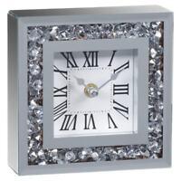 LOOSE DIAMANTE MANTLE TABLE CLOCK ROMAN NUMBER MIRRORED MANTEL CLOCK NEW