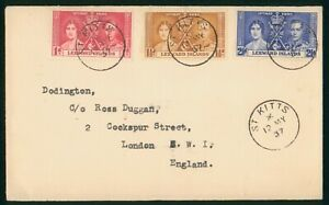 Mayfairstamps Leeward Islands 1937 St Kitts Coronation Set First Day Cover wwp73