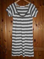 ZARA BASICS - Lovely Ivory / Grey Stripe Dress -  size M - fits 8 / 10