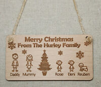 PERSONALISED CHRISTMAS TREE DECORATION BAUBLE FAMILY PORTRAIT WOODEN