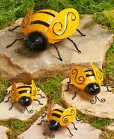 Set of 4 Metal BUMBLE BEES Garden Insect Sculpture Outdoor Yard Art Wall Decor