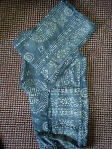 Free People Island Vibes Printed Raw Hem Blue Jeans Linen & Cotton Blend - W27