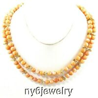 Orange Red Coral Double strands Handcrafted Artisan Statement Necklace free ship