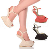 WOMENS LADIES HIGH HEEL LESS WEDGE PLATFORM PONY PEEP TOE SHOES SANDALS SIZE