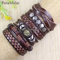 PotaMalat 6pcs Genuine Alloy Leather Bracelets Multi Wrap Hemp Surfer Braid-D72