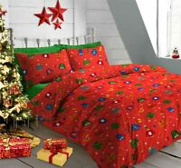 CHRISTMAS JUMPERS HATS GLOVES RED COTTON BLEND DOUBLE DUVET COVER