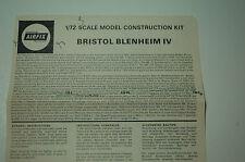 1/72ème PLAN DE MONTAGE POUR BRISTOL BLENHEIM IV  -  pour kit AIRFIX