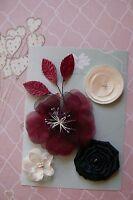 BURGUNDY IVORY & BLACK Fabric Mixed 4 Flowers 35-80mm across 3 Leaves Green Tara