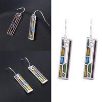 Multi-Color Gemstone Women's 925 Silver Ear Hook Drop Dangle Earrings Chic Gift