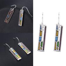 Multi-Color Gemstone Woman 925 Silver Ear Hook Drop Dangle Party Gift Earrings