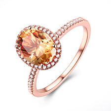 18K Rose Gold Flawless Gemstone Ring 0.9CT Citrine Oval 8x6mm Engagement Jewelry