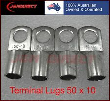 CABLE LUGS. TINNED COPPER BATTERY LUGS 4 PCS 50MM2 X 10MM RING,  FREE POSTAGE