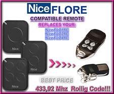Nice FLO2RE / Nice FLO4RE compatible télécommande de remplacement 433,92Mhz