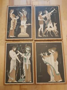 4 x Vintage Souvenir Greek God & Goddess Wooden Plaque Wall Hanging 37x26cm