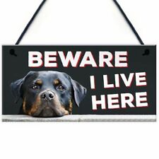 "Plaque Beware I Live Here Hanging Outdoor Dog Warning Sign Gate Security 10""x5"""