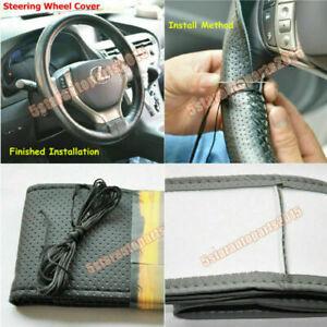 1 DIY Car Stitch PU Leather Steering Wheel Cover Needle Thread Anti-slip M Black