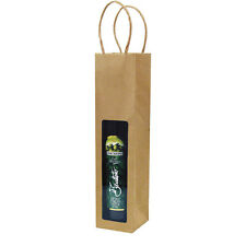 PACK OF 100 BROWN PAPER KRAFT WINE CHAMPAGNE BOTTLE GIFT BAGS WITH WINDOW