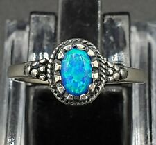 Vintage Sterling Silver Awesome Natural Black Opal Ring Sz 6 FABULOUS BLUE COLOR