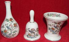 """Lovely Wedgwood Set Bone China *Kutani Crane* Bird 4"""" Bell, Bud Vase & Cup Vase"""