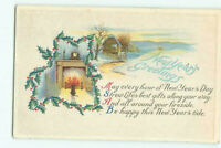 Vintage New Years Greeting Postcard Winter Scene Fireplace Unposted