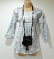 Women's Vintage H&M MAMA 3/4 Sleeve White Blue Striped Cotton Blouse Top Size L