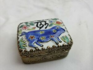 Small chinese metal box, enameled