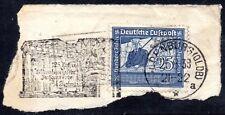 1938 Germany Graf von Zeppelin 25pf Blue with Slogan Cancellation on Piece