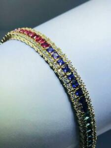 18k Gold Sterling Silver Rainbow Sapphire Princess Cut Stack Tennis Bracelet