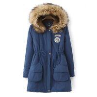 Women's Warm Long Coat Fur Collar Hooded Jacket Slim Winter Parka Outwear GW NEW