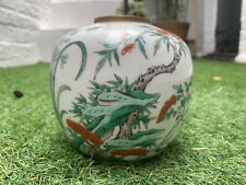 More details for antique chinese jar republic period 1915 - 30 decorated in kangxi style colours