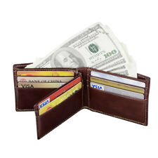 Mens RFID Blocking Leather Bifold Credit Card Wallet Removable Flip Up ID Window