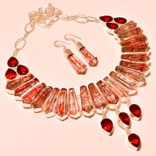 WONDERFUL RED RUTILE & FACETED MOZAMBIQUE GARNET SILVER JEWELRY NECKLACE SET18''