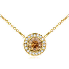 "0.35 ct Brown & White Diamond Halo Pendant Necklace 18"" Chain 14K Yellow Gold"