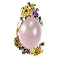 REAL ROSE QUARTZ AMETHYST TOPAZ TOURMALINE STERLING 925 SILVER FLOWER PENDANT